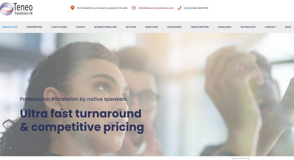 Teneo translations home page