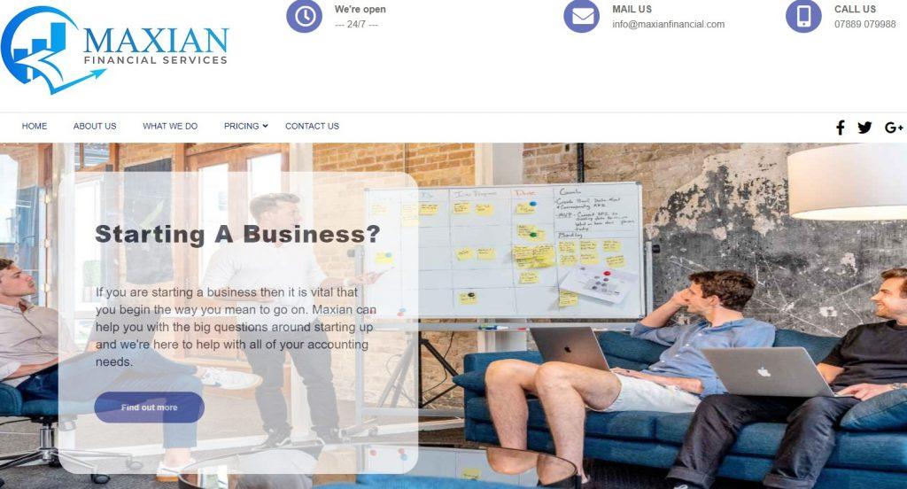 Maxian Financial homepage