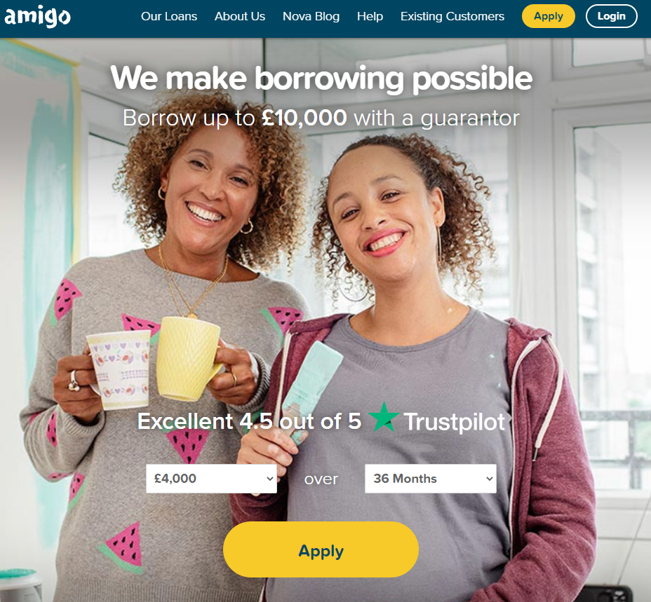 Example of Amigo Loans tone of voice